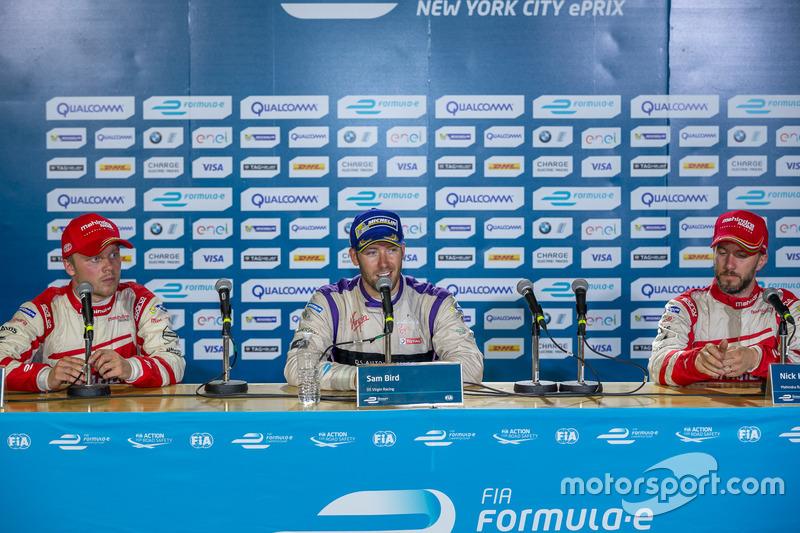 1. Sam Bird, DS Virgin Racing; 2. Felix Rosenqvist, Mahindra Racing; 3. Nick Heidfeld, Mahindra Racing