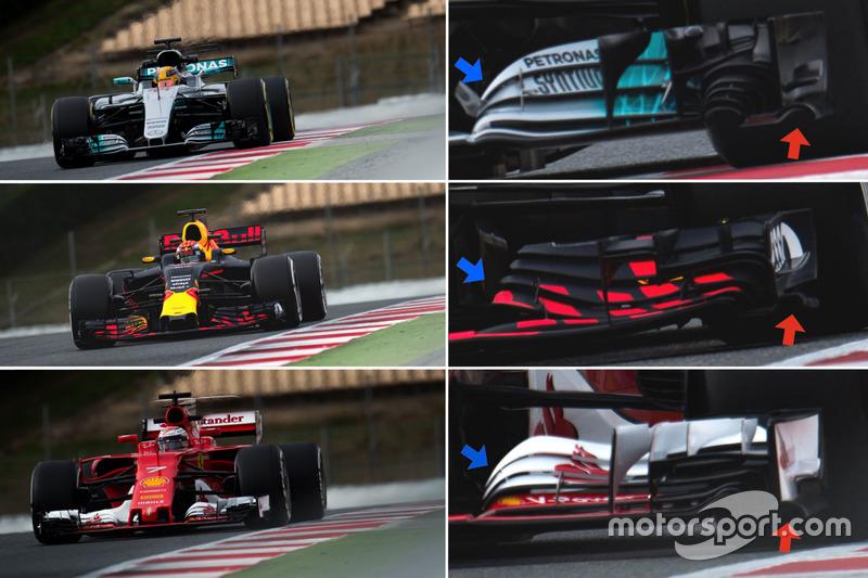Mercedes W08 vs Red Bull Racing RB13 vs Ferrari SF70H