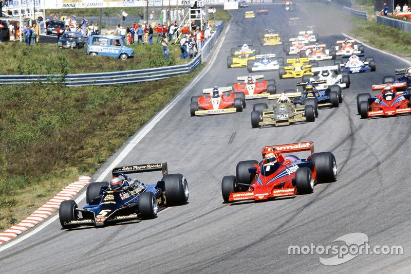Start: Mario Andretti, Lotus 79 Ford, Niki Lauda, Brabham BT46B Alfa Romeo, Riccardo Patrese, Arrows FA1 Ford , John Watson, Brabham BT46B Alfa Romeo