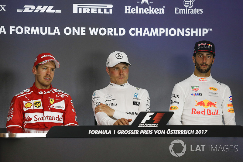 Press conference: second place Sebastian Vettel, Ferrari, race winner Valtteri Bottas, Mercedes AMG F1, third place Daniel Ricciardo, Red Bull Racing
