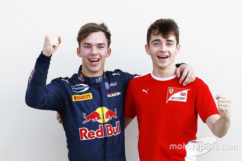 Campeones de GP2 y GP3: Pierre Gasly, PREMA Racing y Charles Leclerc, ART Grand Prix