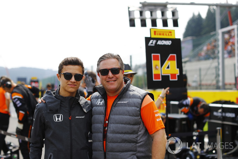 Zak Brown, Executive Director, McLaren Technology Group, with development driver Lando Norris