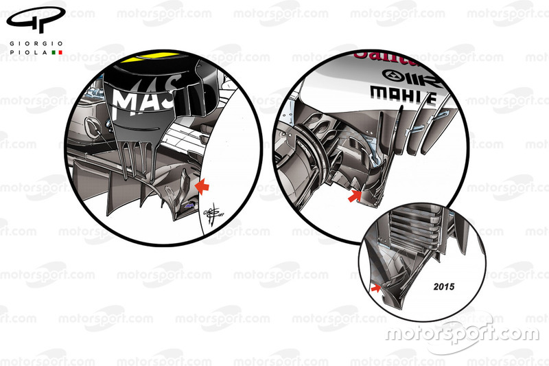 Williams FW40, Ferrari SF70H, Ferrari SF15-T: Diffusor, Vergleich