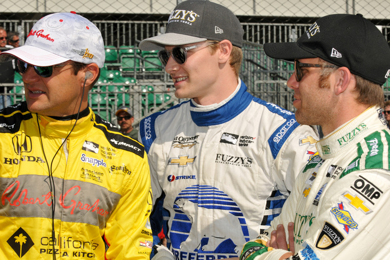 Townsend Bell, Andretti Autosport Honda, Josef Newgarden, Ed Carpenter Racing Chevrolet, und Ed Carpenter, Ed Carpenter Racing Chevrolet