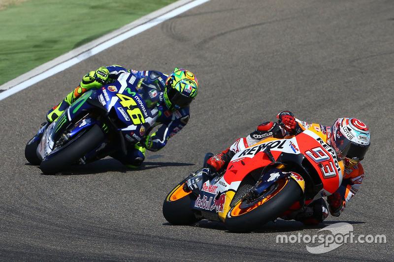 Einen Beinahe-Sturz von Marquez können Rossi und Co. nicht nutzen