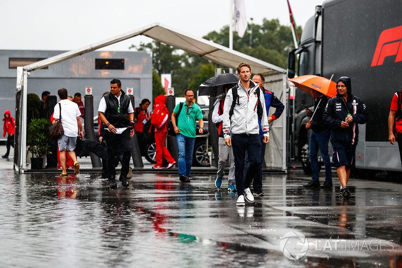 Romain Grosjean, Haas F1 Team, arrives in the paddock