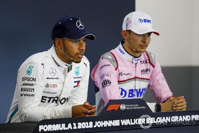 Lewis Hamilton, Mercedes AMG F1 et Esteban Ocon, Racing Point Force India F1 Team, en conférence de presse