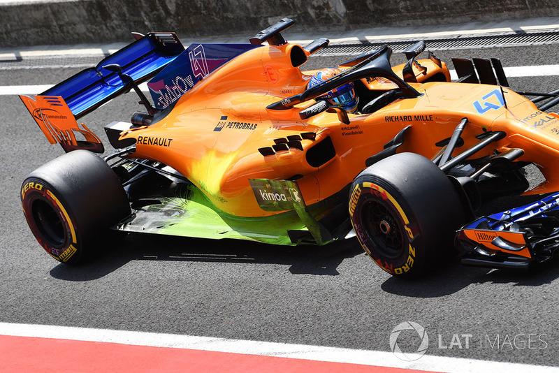 Lando Norris, McLaren MCL33 con parafina aerodinámica en pontón y piso