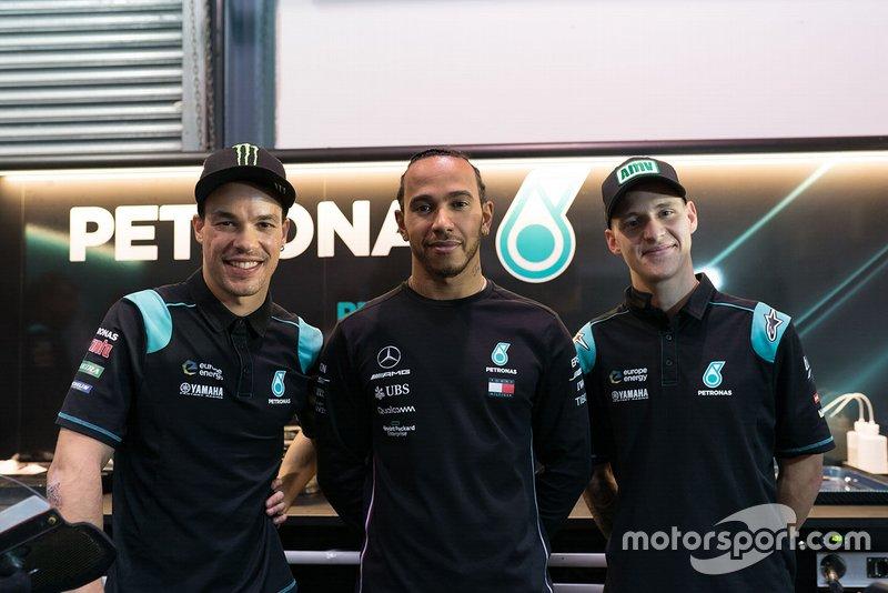 Lewis Hamilton, Franco Morbidelli, Petronas Yamaha SRT, Fabio Quartararo, Petronas Yamaha SRT