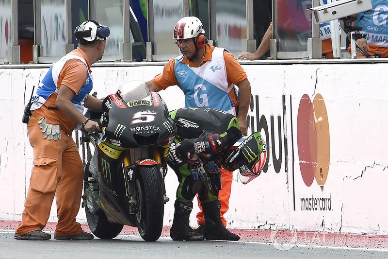 Johann Zarco, Monster Yamaha Tech 3 mendorong motornya sampai garis finis