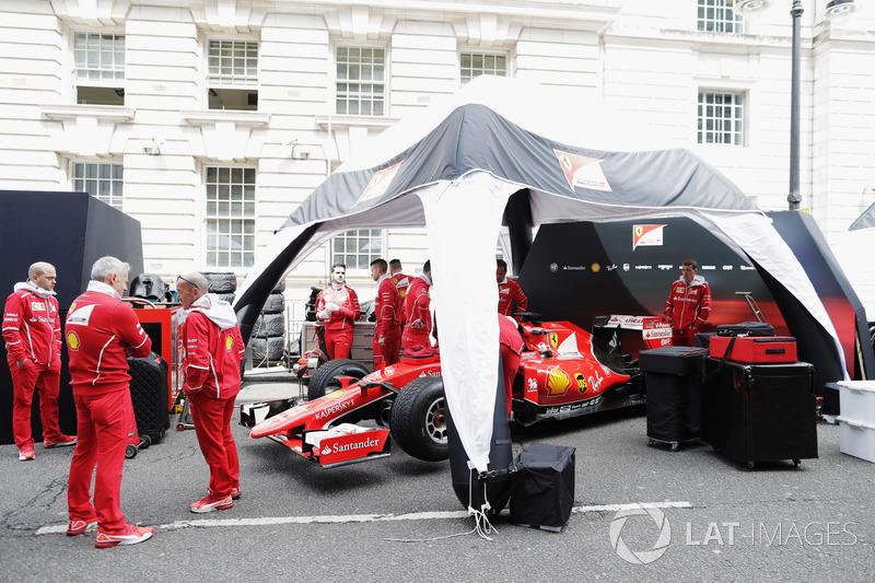 The Ferrari team prepare for the London street demonstration