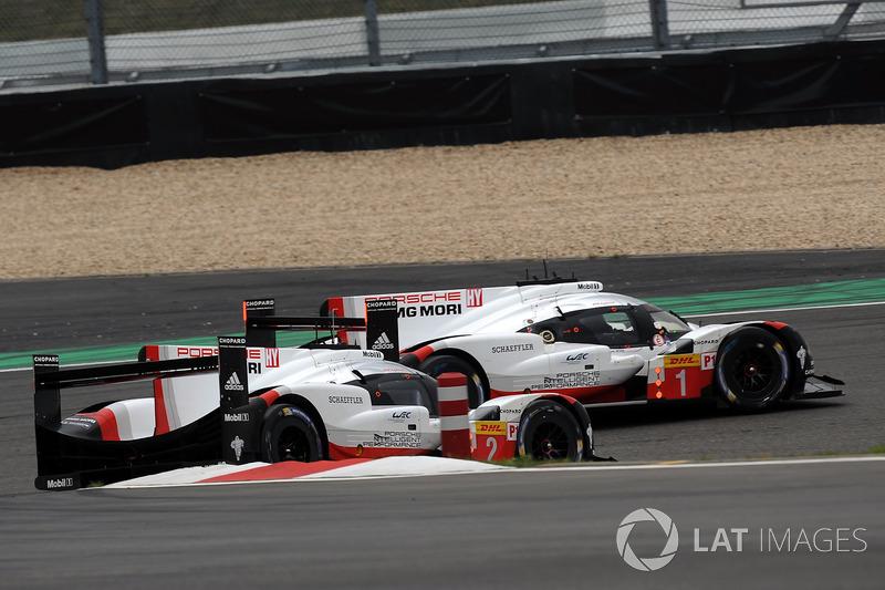 #2 Porsche Team Porsche 919 Hybrid: Тімо Бернхард, Ерл Бамбер, Брендон Хартлі, #1 Porsche Team Porsche 919 Hybrid: Ніл Яні, Андре Лоттерер, Нік Тенді