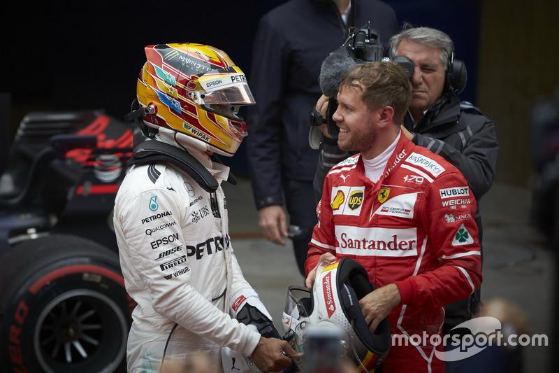Lewis Hamilton, Mercedes AMG, and Sebastian Vettel, Ferrari in parc ferme
