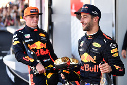 Max Verstappen, Red Bull Racing and Daniel Ricciardo, Red Bull Racing celebrate on the podium