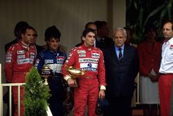 Podium: winner Ayrton Senna, McLaren, second place Jean Alesi, Tyrrell, third place Gerhard Berger, McLaren, Ron Dennis, Mclaren