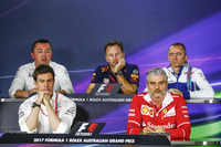 Eric Boullier, Racing Director, McLaren, Toto Wolff, Executive Director (Business), Mercedes AMG, Christian Horner, Team Principal, Red Bull Racing, Paddy Lowe, Williams Formula 1, and Maurizio Arrivabene, Team Principal, Ferrari, in the Team Principals Press Conference