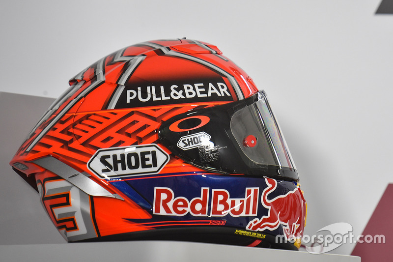 le casque de marc marquez repsol honda team gp du qatar photos motogp. Black Bedroom Furniture Sets. Home Design Ideas