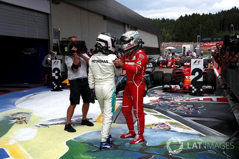 Race winner Valtteri Bottas, Mercedes AMG F1 celebrates in parc ferme, Sebastian Vettel, Ferrari