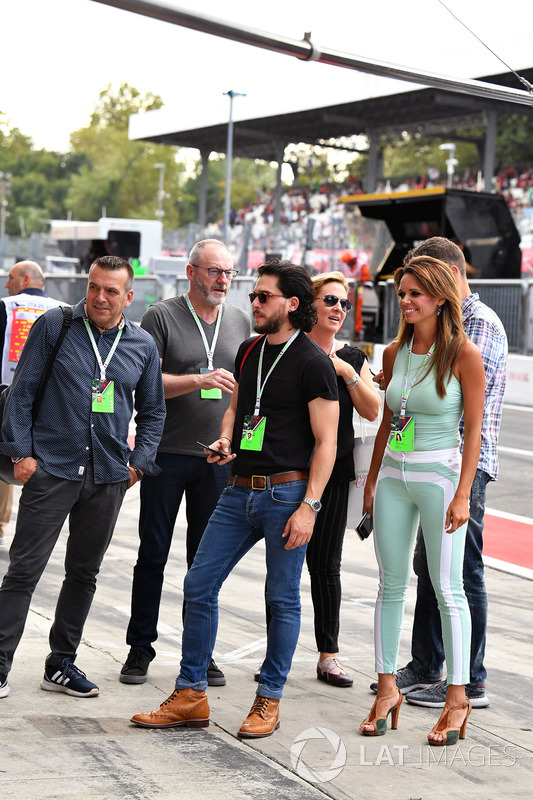 Liam Cunningham, Actor, Kit Harington, Actor, Alejandra Gutierrez, Actress & Model, Ted Dobrzynski, viagp.com and Stefano Zuech, Motorsport Consultant