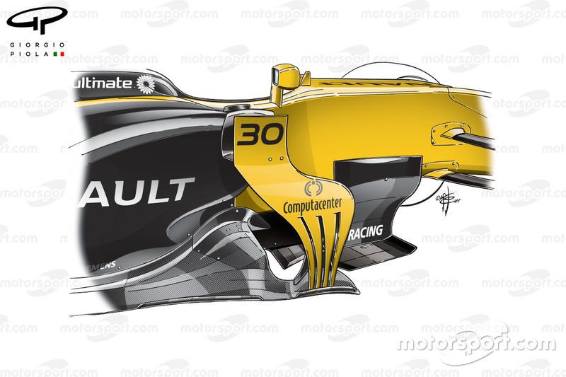 Renault R.S.17 detalles de los bargeboards