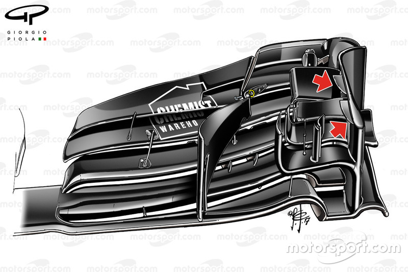 Williams F40, detalle de ala delantera