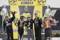 Funny Car winner John Force, Top Fuel winner Antron Brown, Pro Stock winner Jason Line, Pro Stock Bike winner Chip Ellis
