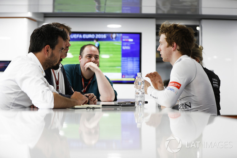 Oliver Turvey, Test Driver, McLaren, talks to the press