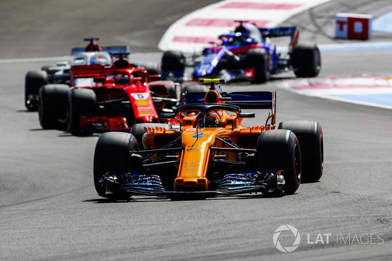 Stoffel Vandoorne, McLaren MCL33, Sebastian Vettel, Ferrari SF71H, Marcus Ericsson, Sauber C37, Brendon Hartley, Toro Rosso STR13
