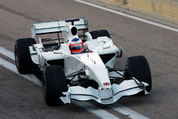 Rubens Barrichello, does the first lap in the new Honda RA108