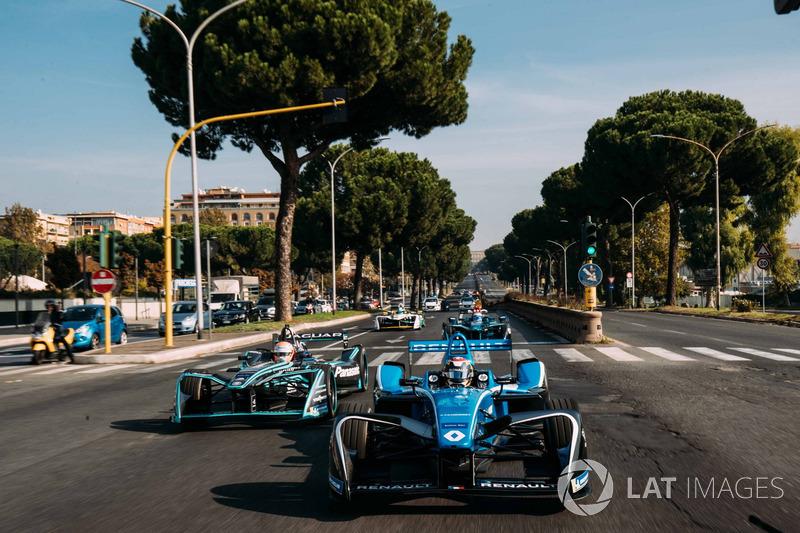 Sébastien Buemi, Renault e.Dams, Nelson Piquet Jr., Jaguar Racing, Luca Filippi, NIO Formula E Team y Lucas di Grassi, Audi Sport ABT Schaeffler