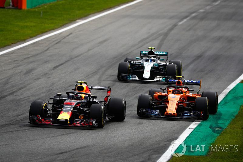 Max Verstappen, Red Bull Racing RB14 Tag Heuer, Stoffel Vandoorne, McLaren MCL33, Valtteri Bottas, Mercedes AMG F1 W09