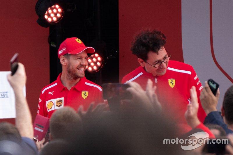Sebastian Vettel, Ferrari, Mattia Binotto, director del equipo Ferrari
