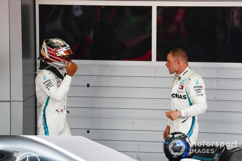 Por lo tanto el ganador, Hamilton, acabó visualmente tocado, entristecido por Valtteri Bottas