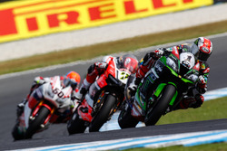 Jonathan Rea, Kawasaki Racing Team, Chaz Davies, Aruba.it Racing - Ducati Team en Michael van der Ma