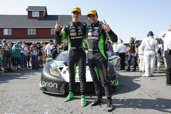 #16 Change Racing Lamborghini Huracan GT3: Corey Lewis, Jeroen Mul celebrate their first place finish in GTD