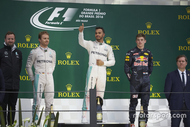 2016 : 1. Lewis Hamilton, 2. Nico Rosberg, 3. Max Verstappen