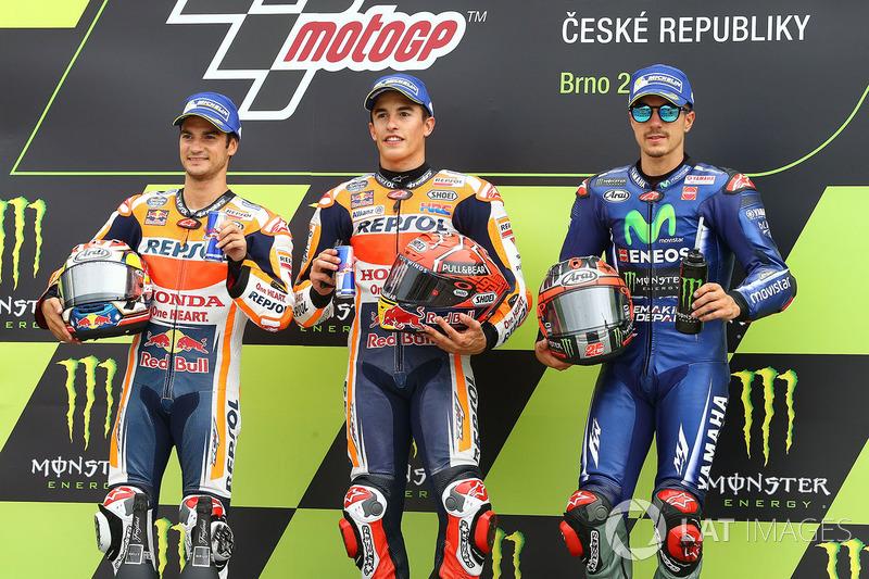Подіум: переможець гонки Марк Маркес, Repsol Honda Team, друге місце Дані Педроса, Repsol Honda Team, третє місце Маверік Віньялес. Yamaha Factory Racing