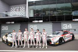 Group photoshoot: #23 Nissan Motorsport, Nissan GT-R Nismo GT3: Katsumasa Chiyo, Alex Buncombe, Michael Caruso, #24 Nissan Motorsport, Nissan GT-R Nismo GT3: Florian Strauss, Todd Kelly, Jann Mardenborough