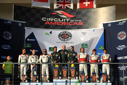 LMGTE Am podio: ganadores Paul Dalla Lana, Pedro Lamy, Mathias Lauda, Aston Martin Racing, segundo Mok Weng Sun, Matt Griffin, Keita Sawa, Clearwater Racing, tercero Thomas Flohr, Francesco Castellacci, Miguel Molina