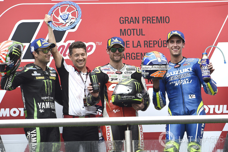 Second place Johann Zarco, Monster Yamaha Tech 3, Race winner Cal Crutchlow, Team LCR Honda, Third place Alex Rins, Team Suzuki MotoGP