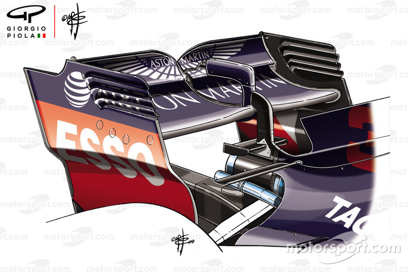 Detalle del ala trasera Red Bull Racing RB14