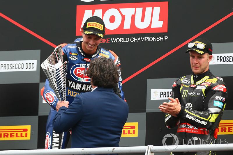 Podyum: Yarış galibi Michael van der Mark, Pata Yamaha, 3. Jonathan Rea, Kawasaki Racing