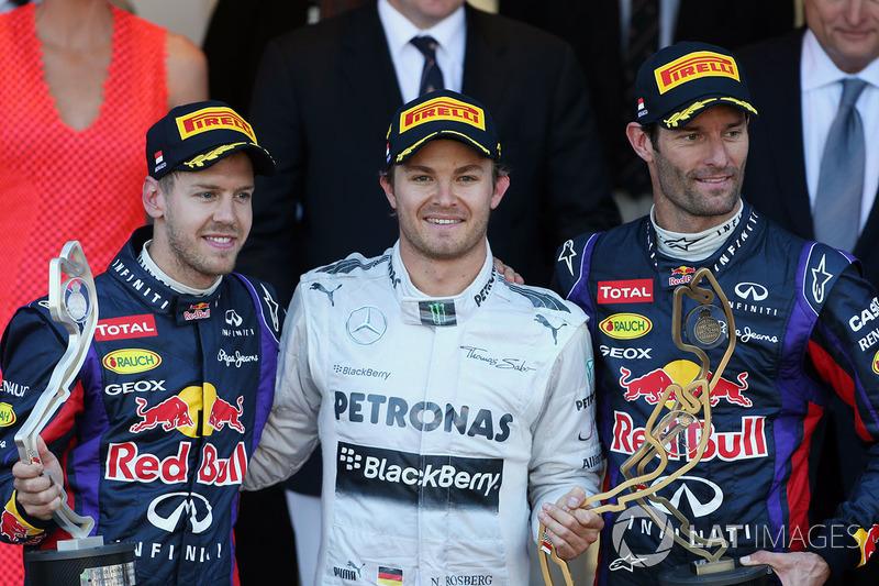 Podium: race winner Nico Rosberg, Mercedes AMG F1, second place Sebastian Vettel, Red Bull Racing, thrid place Mark Webber, Red Bull Racing celebrate on the podium