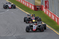 Kevin Magnussen, Haas F1 Team VF-18 leads Max Verstappen, Red Bull Racing RB14