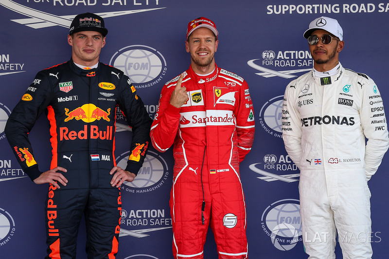 Pole, Sebastian Vettel, Ferrari, Max Verstappen, Red Bull Racing, Lewis Hamilton, Mercedes AMG F1