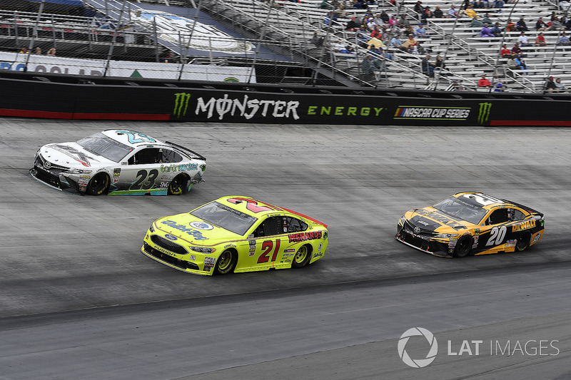 Paul Menard, Wood Brothers Racing, Ford Fusion Menards / Dutch Boy, Gray Gaulding, BK Racing, Toyota Camry Earthwater, and Erik Jones, Joe Gibbs Racing, Toyota Camry DeWalt