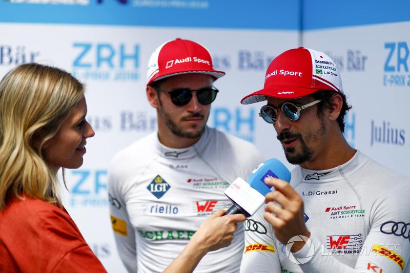 Nicki Shields, TV Presenter, interviews Lucas di Grassi, Audi Sport ABT Schaeffler, Daniel Abt, Audi Sport ABT Schaeffler