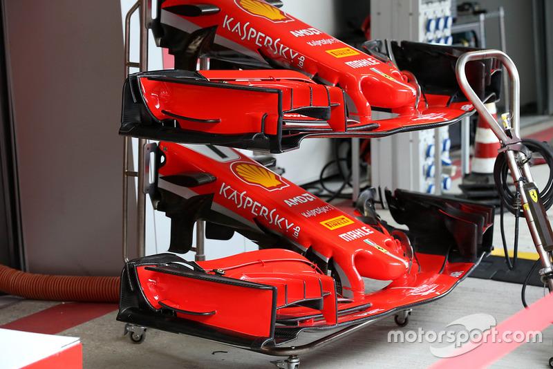 Сравнение версий переднего крыла Ferrari SF71H
