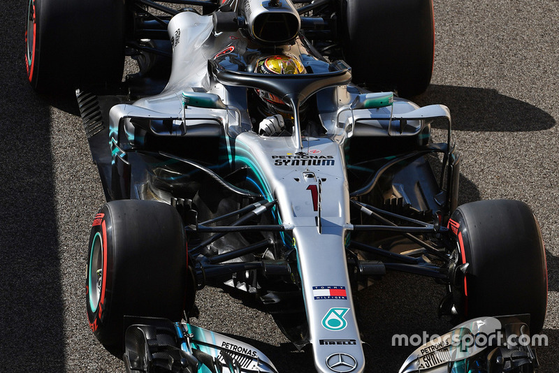 Lewis Hamilton, Mercedes AMG F1 W09 EQ Power+ with the #1 on nose cone
