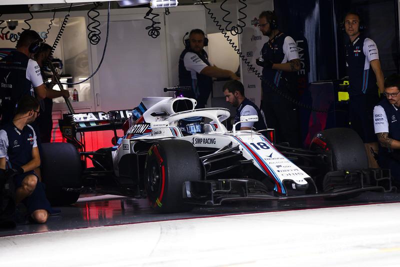 Lance Stroll, Williams FW41, dans le garage